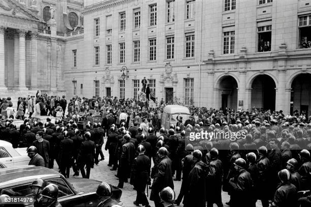 Riot police officers enter the Sorbonne university by special request of education officer on May 4 1968 in Paris during the May 1968 events in...