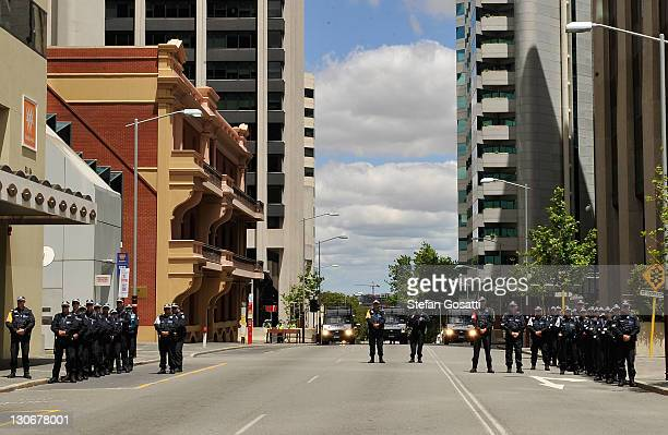Riot police on standby during the CHOGM protest on opening day of the Commonwealth Heads of Government meeting on October 28 2011 in Perth Australia...