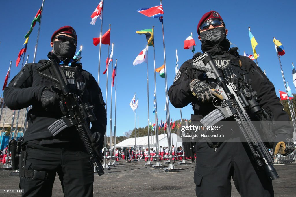 Riot Police patrol during the PyeongChang 2018 Olympic Village opening ceremony at the PyeongChang 2018 Olympic Village Plaza on February 1, 2018 in Pyeongchang-gun, South Korea.