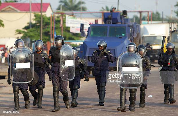 Riot police patrol on November 28 2011 in Kinshasa Democratic Republic of Congo Over 30 million people registered to vote in elections that have been...