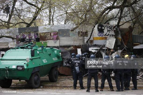 Riot police patrol outside the location of the left alternative site trailer Camp Kopi on October 15, 2021 in Berlin, Germany. The so-called...