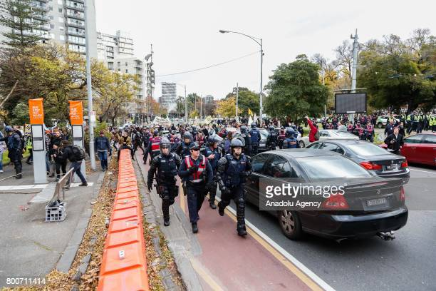 Riot police run to seperate protest groups during a protest organised by the antiIslam True Blue Crew supported by the United Patriots Front whom...