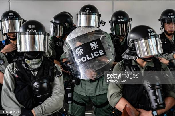 Riot police secure the area outside the Tung Chung MTR station on September 7 2019 in Hong Kong China Prodemocracy protesters have continued...
