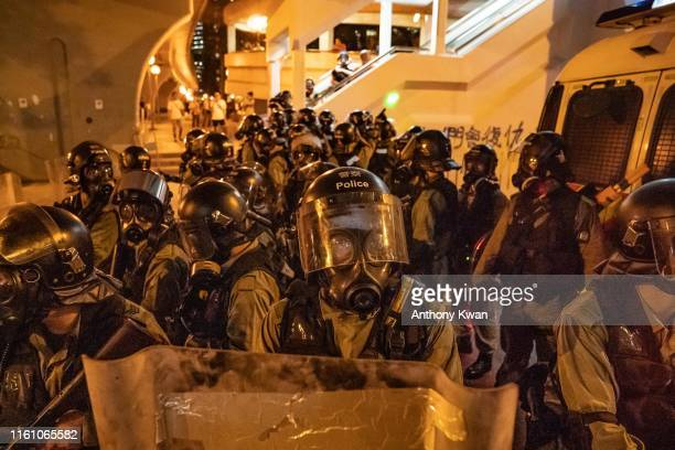 Riot police stand off with protesters at Kwai Fong district on August 11 2019 in Hong Kong China Prodemocracy protesters have continued rallies on...