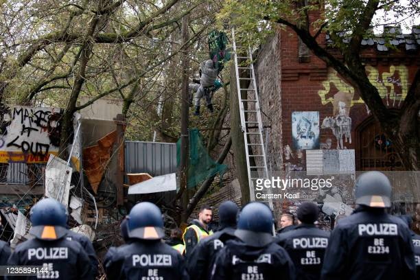 Riot police stays in a line as tree squatters are roped down on ropes by police officers after they have tied themselves to the tree at the left...