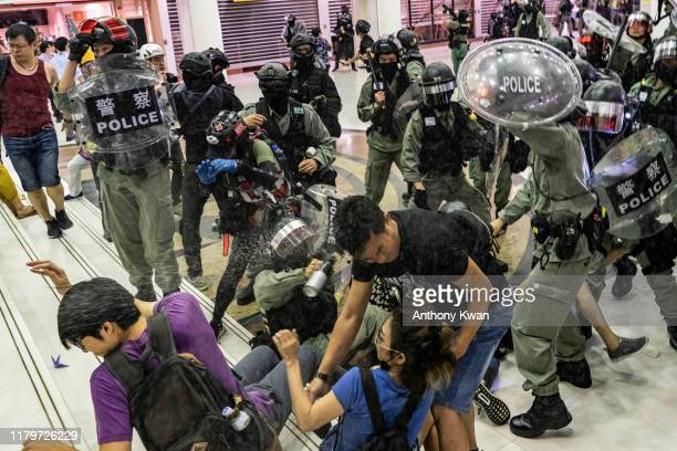 A riot police uses pepper spray as they attempt to make arrest in a shopping mall during a rally on November 3 2019 in Hong Kong China Hong Kong...