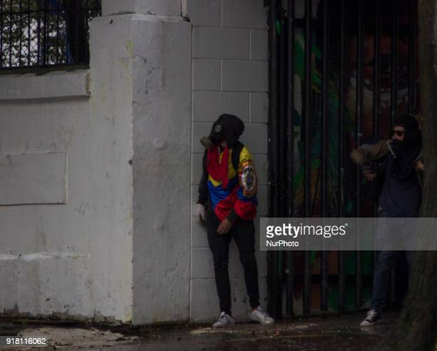 Riot within the National Pedagogical University in Bogota Colombia on 13 February 2018 The demonstrations are due to dissatisfaction of the students...
