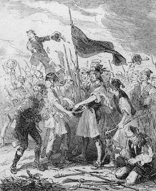 Rioters bathe their standard bearers' hands in blood...