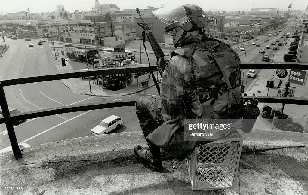 Rioting sparked by police acquittals in the Rodney King case caused massive damage in the city and l : News Photo