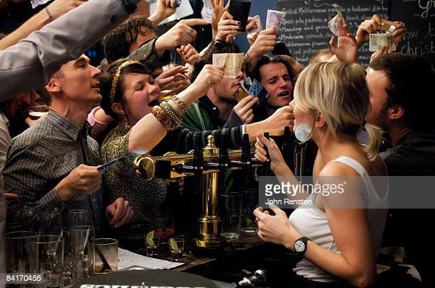 riotous drinking party in public bar  - drunk woman stock pictures, royalty-free photos & images