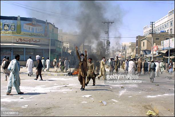 Riots after first military strike on Afghanistan by the US army In Quetta Pakistan On October 08 2001