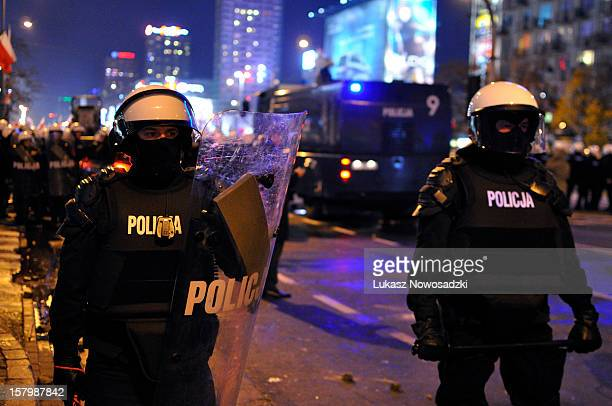 Riots during Independence Day March in Warsaw, Poland, 2012.
