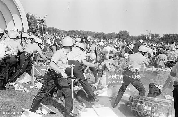 Riots In Chicago Chicago 28 30 Août 1968 Lors de la Convention des démocrates violentes emeutes contestatrices à Lincoln Park policiers en uniforme...