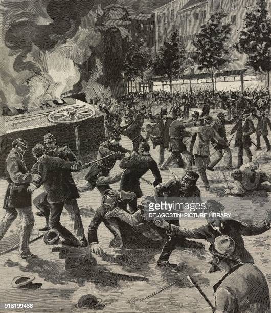 Riots in front of Cafe d'Harcourt during the demontrations in the Latin Quarter of Paris July 1 France engraving by Ernesto Mancastropa after a...
