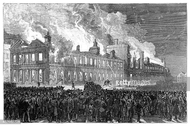 Riots in Montreal Canada The burning of the House of Assembly Illustration from The life and times of Queen Victoria by Robert Wilson