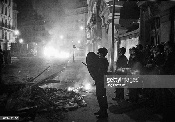Riots police lining the streets in the Paris Latin Quarter during the riots France 25th May 1968