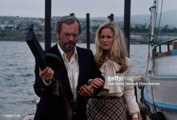 Rip Torn holding large rifle Belinda Montgomery appearing in the ABC tv series 'Most Wanted' episode 'The Dutchman'