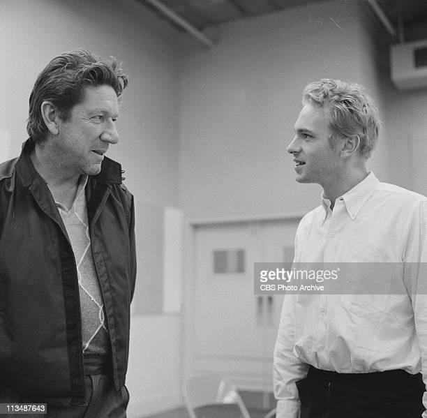 Rip Torn right and Richard Boone in rehearsal for The Tunnel in PLAYHOUSE 90 Image dated November 27 1959
