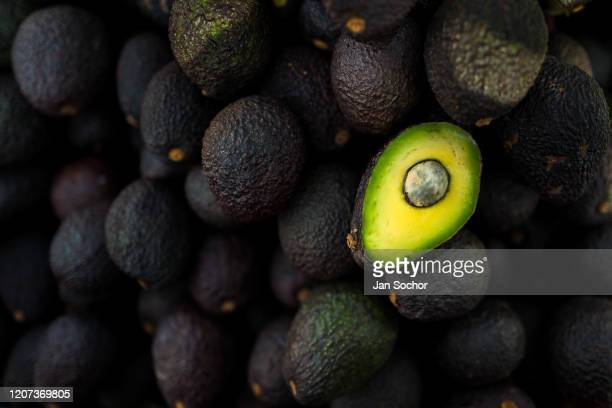 Ripe blackpurplish Hass avocados are seen offered for sale in the street on November 28 2019 in Medellín Colombia Colombian avocado industry has...