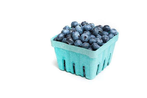 ripe blueberries, in a pint sized box - 藍莓 個照片及圖片檔