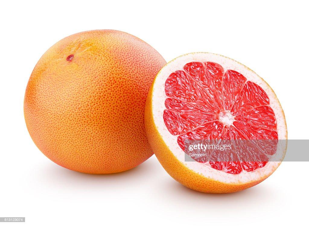 Ripe grapefruit citrus fruit with half isolated on white : Stock Photo