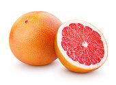 Ripe grapefruit citrus fruit with half isolated on white
