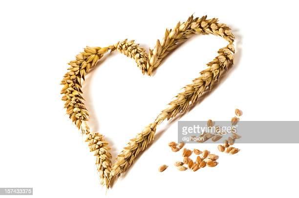 Reife Liebe-Herz von Weizen Beine auf weißem Hintergrund.