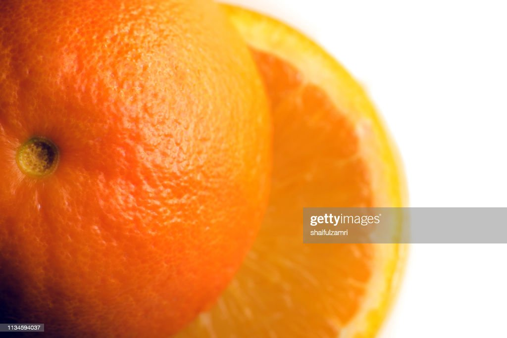 Ripe orange isolated on white background : Stock Photo
