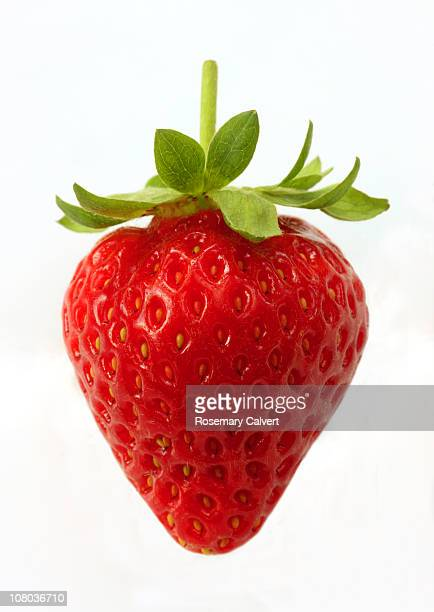 ripe, organic strawberry on white background. - strawberry stock pictures, royalty-free photos & images