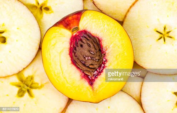 Ripe, sliced, fresh fruits, organic apples and nectarine