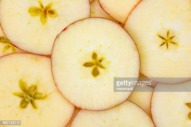 Ripe, sliced, fresh fruits, organic apples