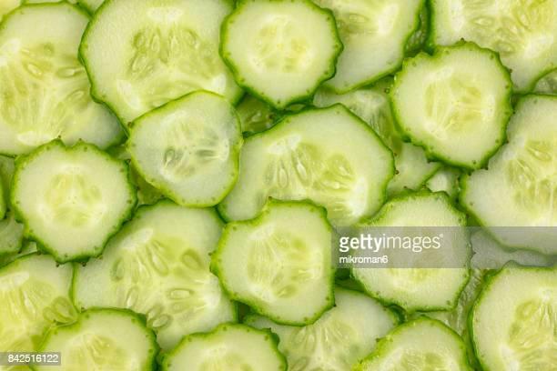 Ripe, sliced, fresh fruits, organic cucumber