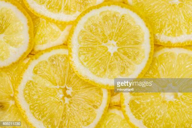 ripe, sliced, fresh fruits, organic lemon fruit - zitrone stock-fotos und bilder