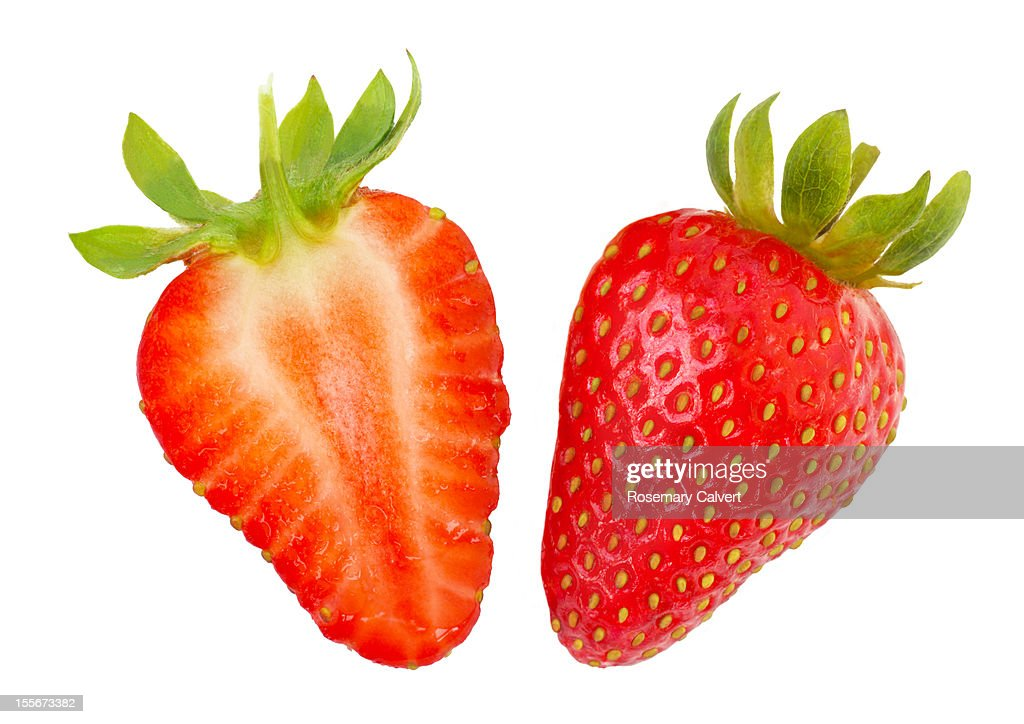 Ripe strawberry halves : Stock Photo