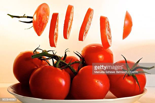 Ripe tomatoes on plate