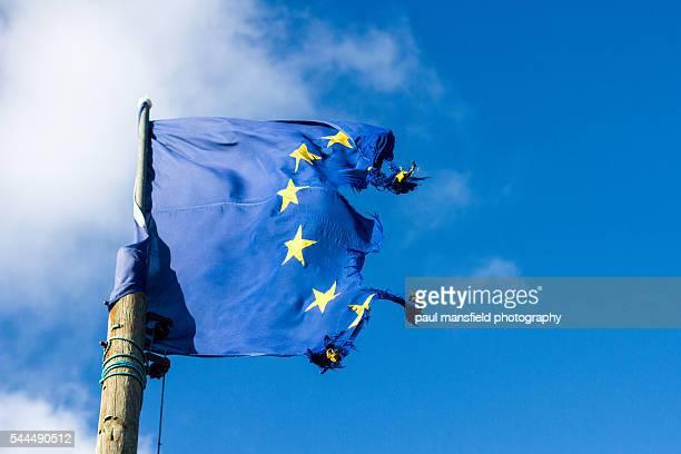 Ripped Euro flag