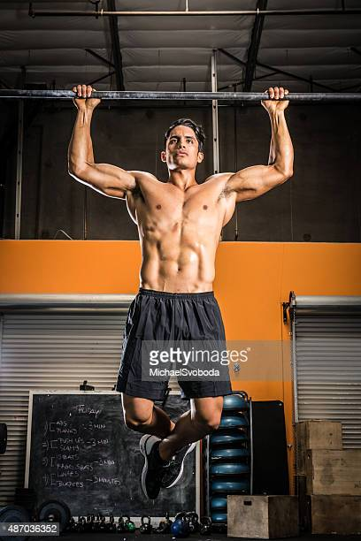 Ripped Man Doing Pull Ups