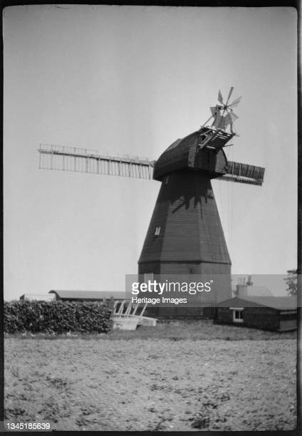 Ripple Mill, Dover Road, Ringwould, Dover, Kent, 1929. A view of Ripple Mill, showing the smock mill intact but with only two sails. This smock mill...