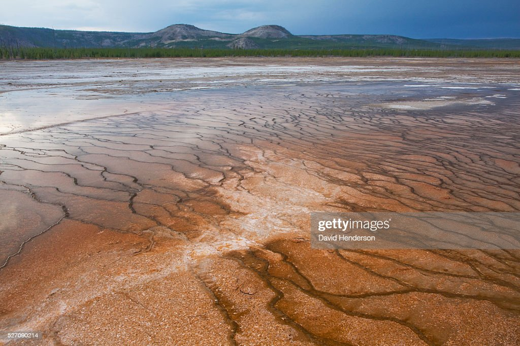 Ripple patterns at Grand Prismatic Spring, Wyoming, USA : Stock Photo