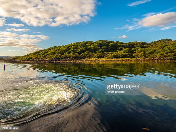 ripples and reflections in loch fyne - argyll and bute stock photos and pictures