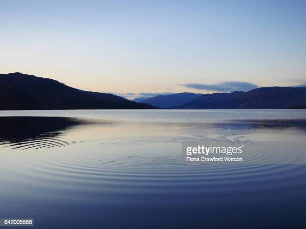 ripples in water after throwing pebble into loch katrine, scotland - lake stock pictures, royalty-free photos & images