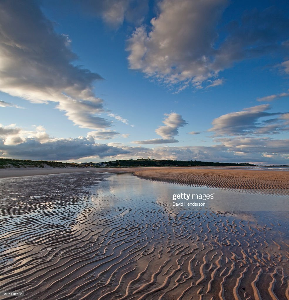 Ripples on beach, pools and reflections : Stock Photo