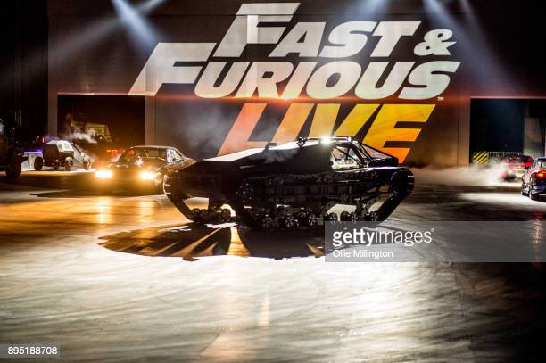Ripsaw EV2 Luxury Super Tank used in The Fate of the Furious seen in the arena during the 'Fast Furious Live' technical rehearsal at NEC Arena on...