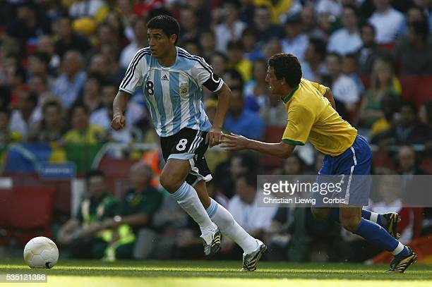 Riquelme of Argentina during the international friendly match between Agentina and Brasil played at the Emirates Arsenal Stadium in London England UK
