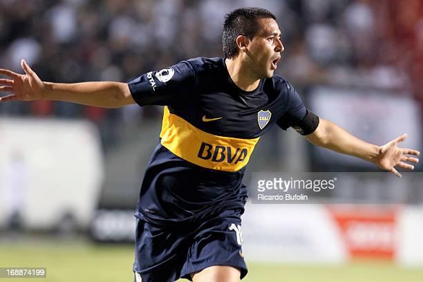 Riquelme of Boca Juniors celebrates a goal during a match between Corinthians and Boca Juniors as part of the Copa Bridgestone Libertadores 2013 at...