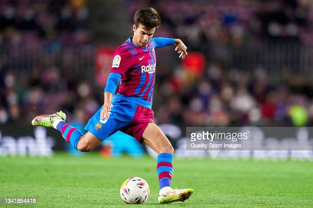 Riqui Puig of FC Barcelona with the ball during the La Liga Santander match between FC Barcelona and Granada CF at Camp Nou on September 20, 2021 in...