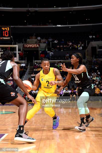 Riquna Williams of the Los Angeles Sparks handles the ball during the game against the New York Liberty on August 14 2018 at Staples Center in Los...