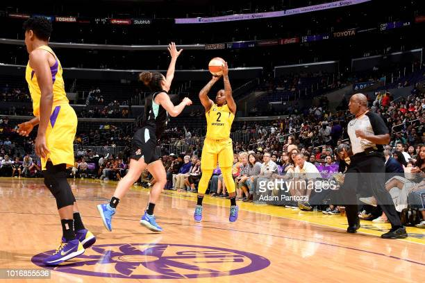 Riquna Williams of the Los Angeles Sparks shoots the ball during the game against the New York Liberty on August 14 2018 at Staples Center in Los...
