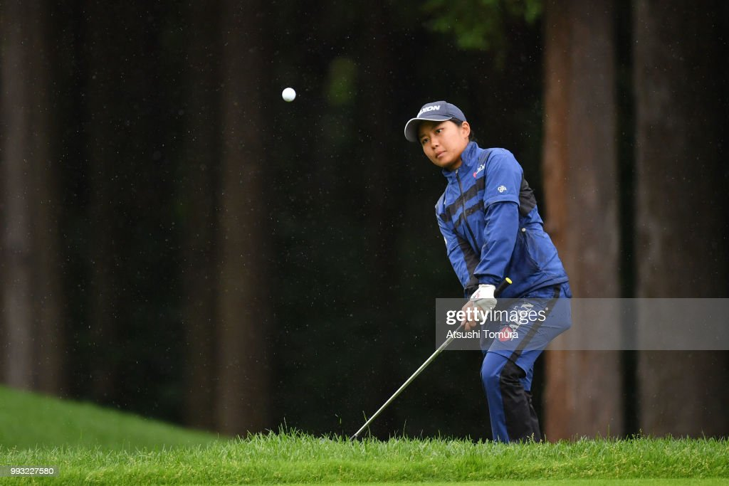 Riri Sadoyama of Japan chips onto the 16th green during the second round of the Nipponham Ladies Classic at the Ambix Hakodate Club on July 7, 2018 in Hokuto, Hokkaido, Japan.