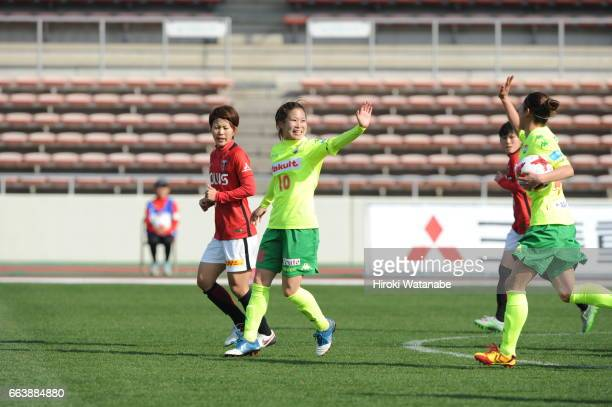 Risa Fukasawa of JEF United Chiba Ladies celebrates scoring his team`s second goal during the Nadeshiko League match between Urawa Red Diamonds...